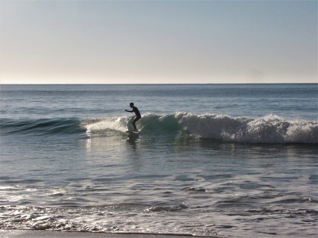 Our friend finding his flow on the mini malibu at Porto de Mos