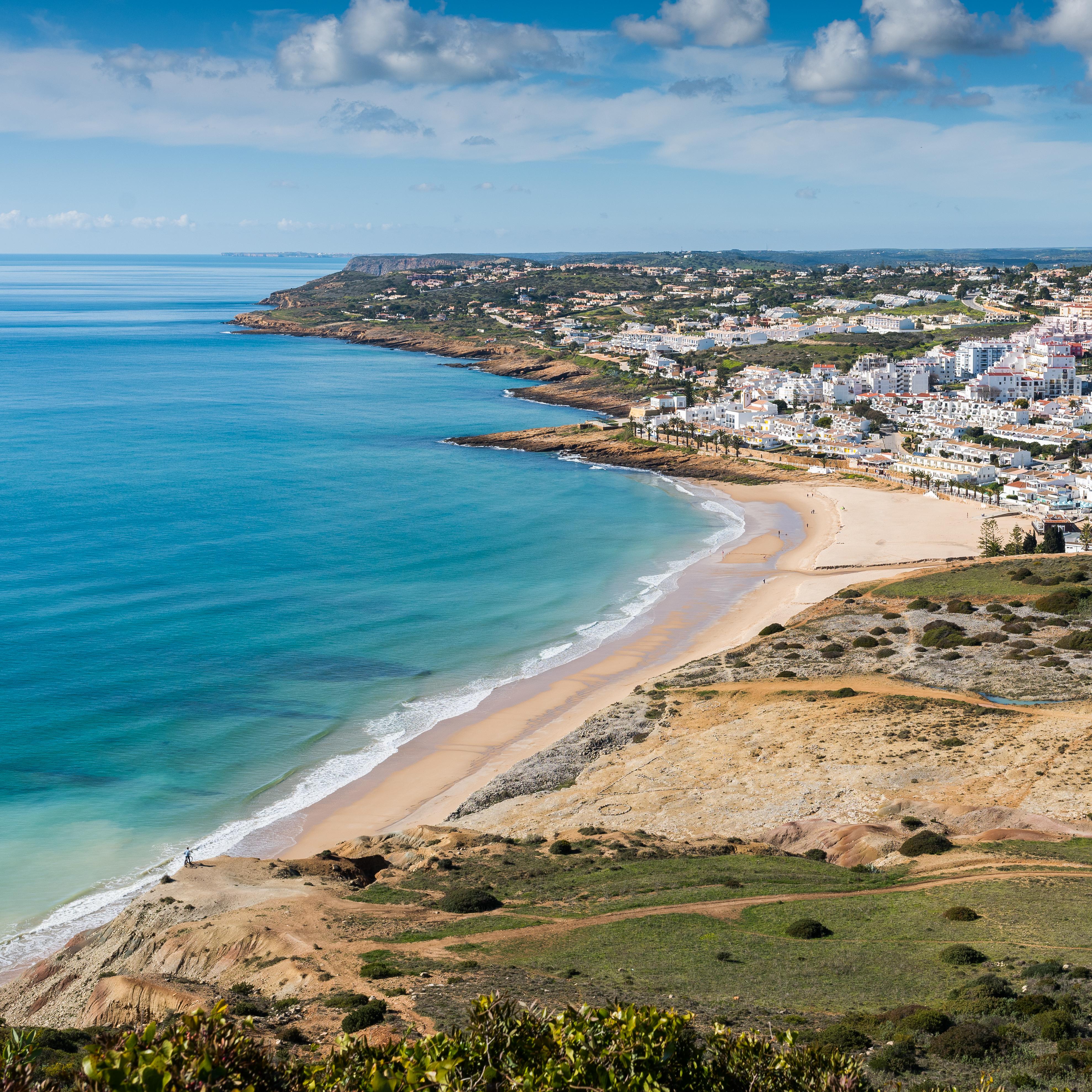 Praia da Luz surf aerial