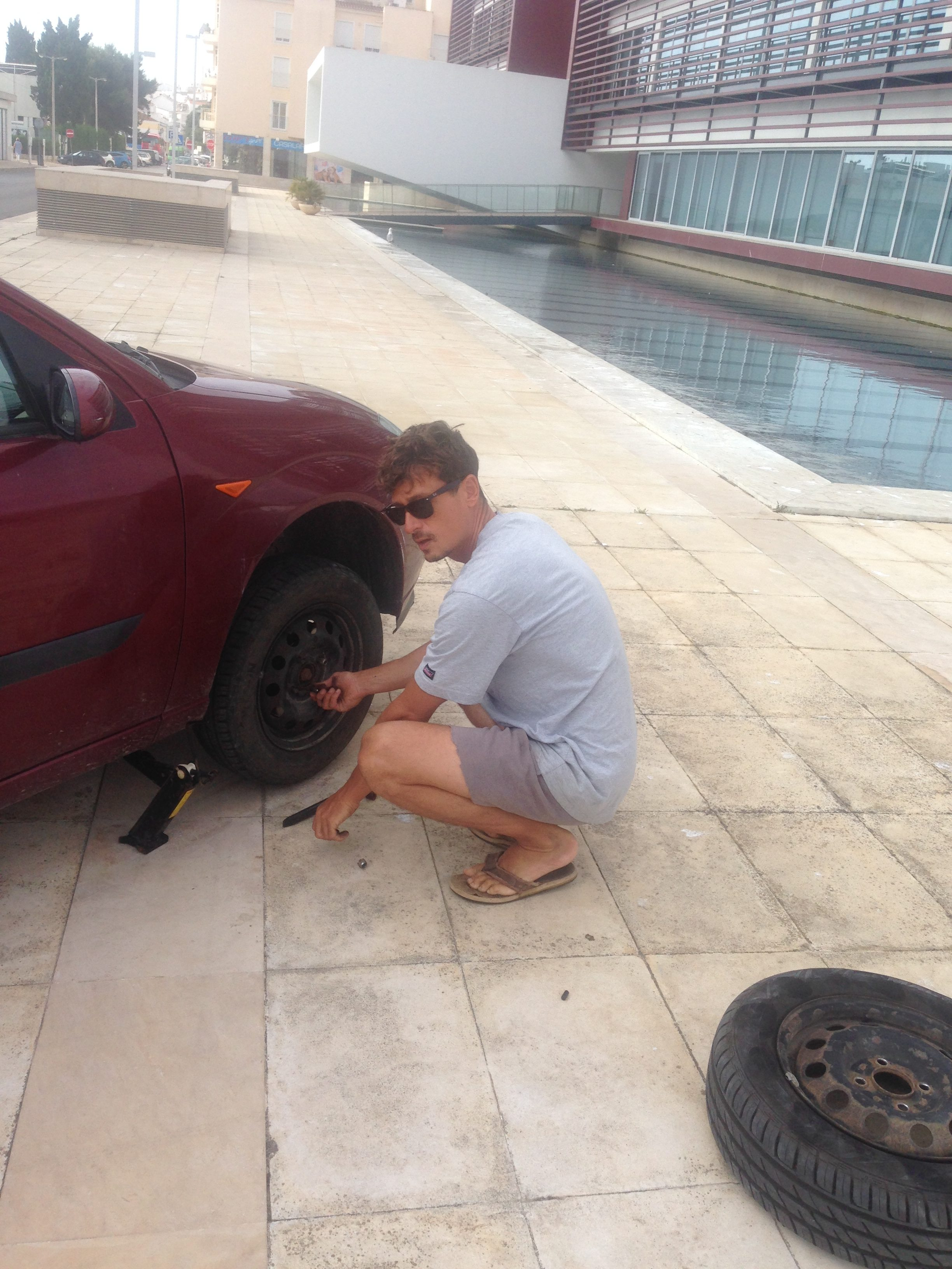 changing tire on our way to surf