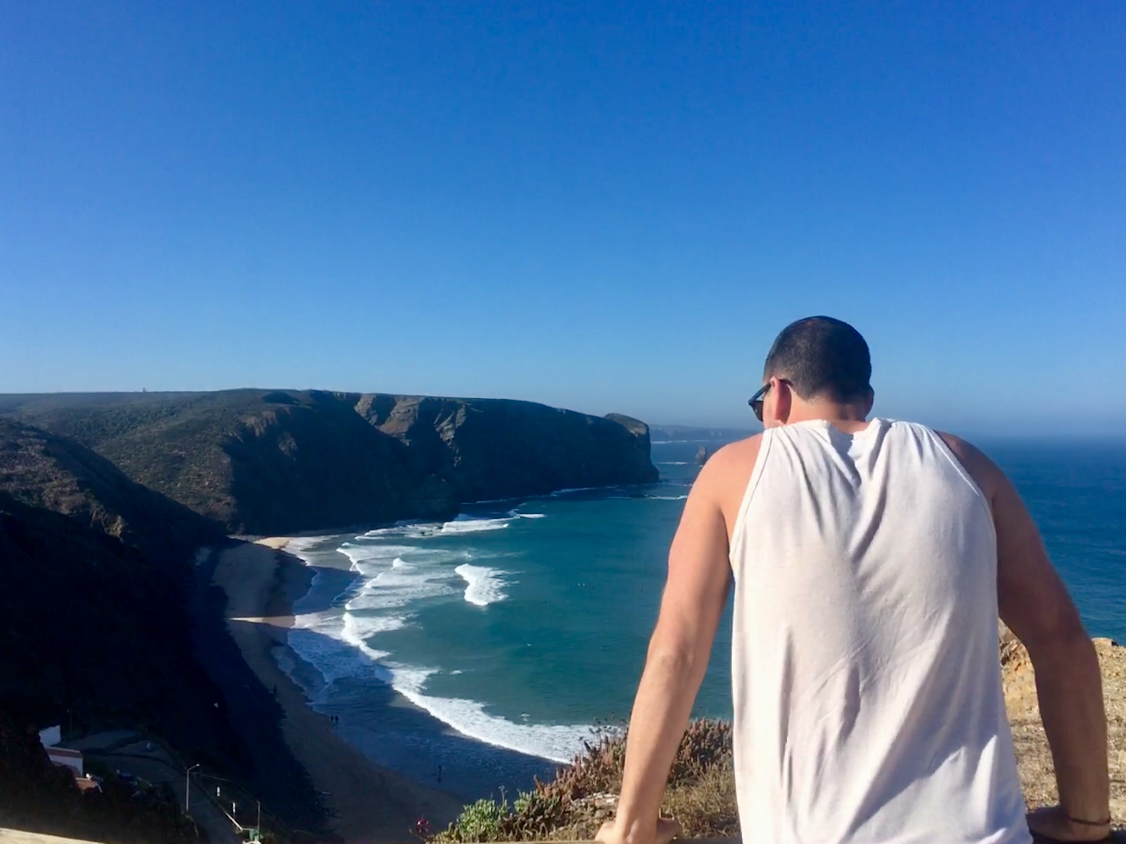 my american friend totally blown away by the view of the surf at arrifana