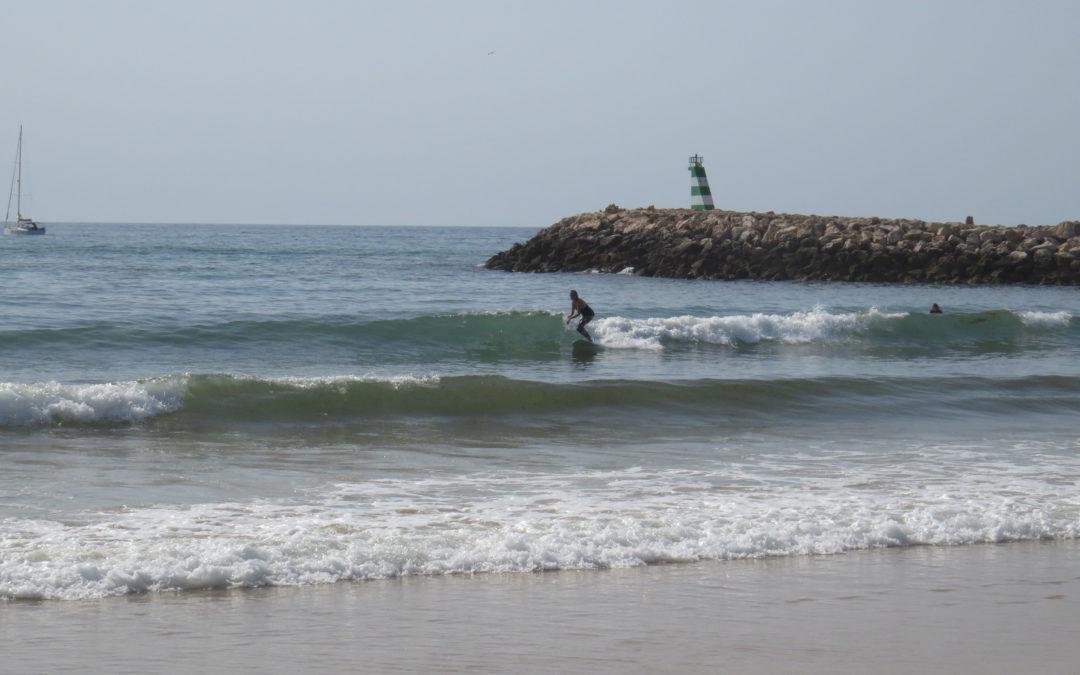 Meia Praia summer surf in shorts!