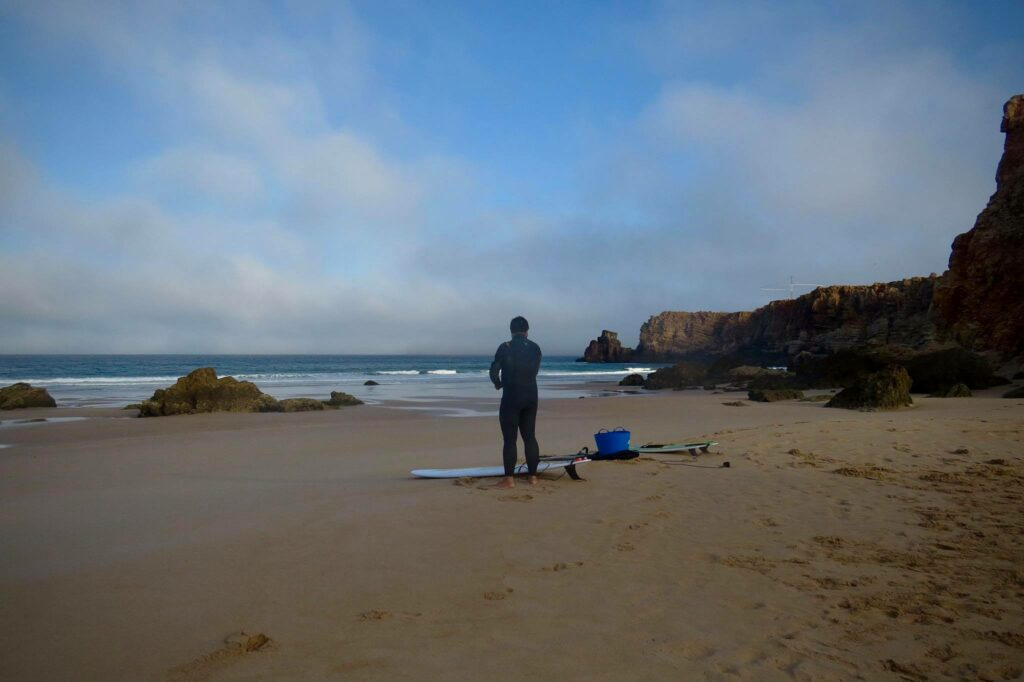 First ones on Tonel beach with perfect small conditions